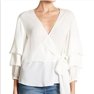 Minkpink White Tiered Sleeve Wrap Top Blouse sz XS